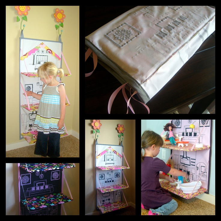 I love this! Foldable Doll House e-pattern. Barbie house you can store away when not using.. $10.00, via Etsy.