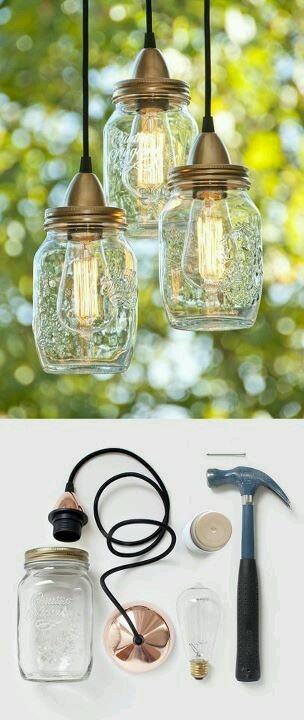 DIY mason lights. Cliche but you just can't help but love them!