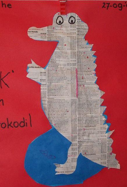 * Krokodil! Knip uit een telefoonboek een krokodil en laat de kinderen met stift alle k's zoeken en aanstrepen.