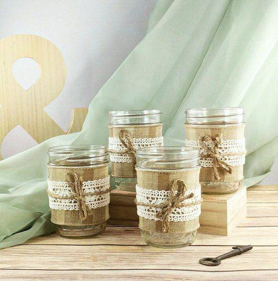 Mason Jar Rustic Wedding Decoration Jute Twine Burlap Lace
