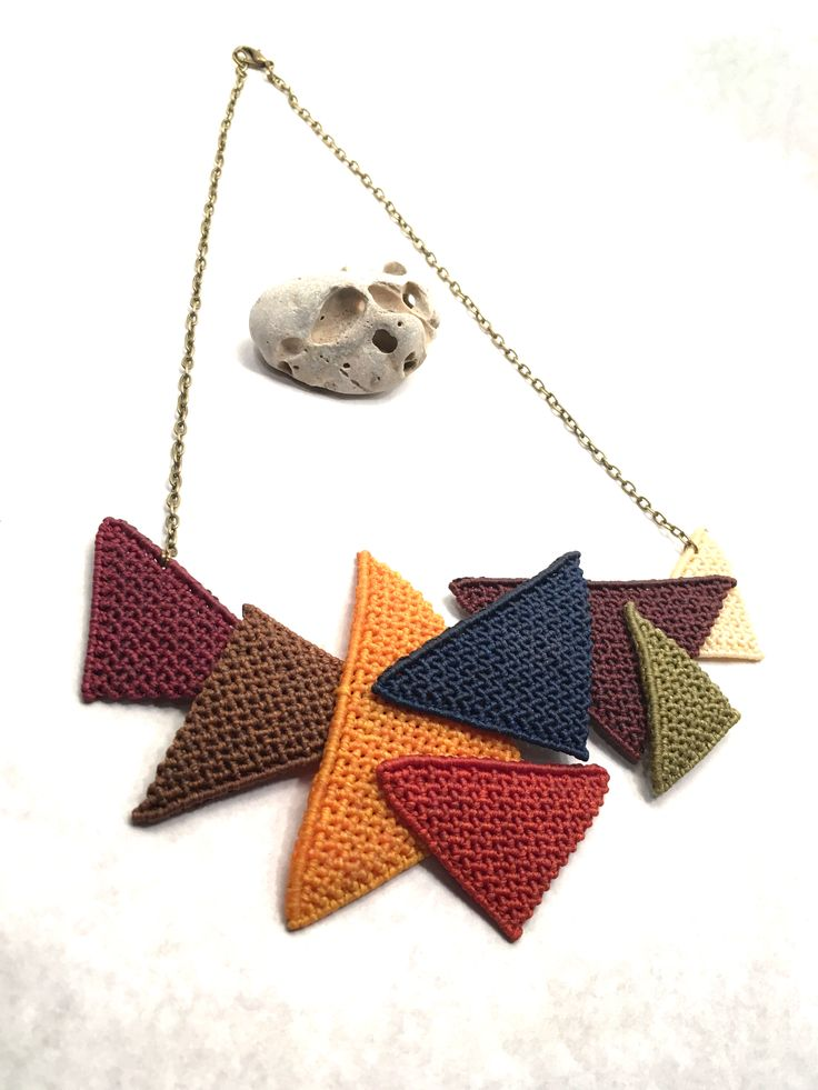 Handmade macrame necklace with triangle shapes in autumn colours and bronze chain