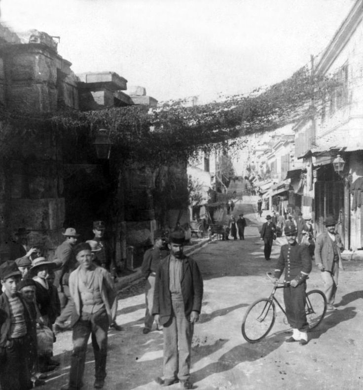 Aeolos Street and the Stoa of Hadrian Photograph  - Athens Greece  c 1903, #solebike, #Athens, #e-bike tours