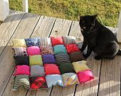 PICCOLO cane letto gatto, cucciolo cuscino, stuoia Pet reversibile, cuccia lavabile, Eco Friendly, Dog Crate Mat, Patchwork Rag letti cane, gatto