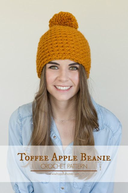 Hopeful Honey | Craft, Crochet, Create: Toffee Apple Pompom Beanie  - Free Crochet Pattern...