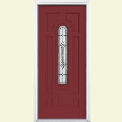 Masonite Providence Center Arch Painted Steel Entry Door with Brickmold-24864 at The Home Depot