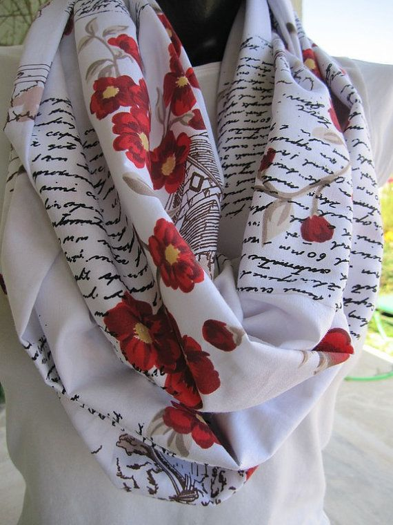 Red floral black writing infinity women's scarves by Scarves2012, $18.00
