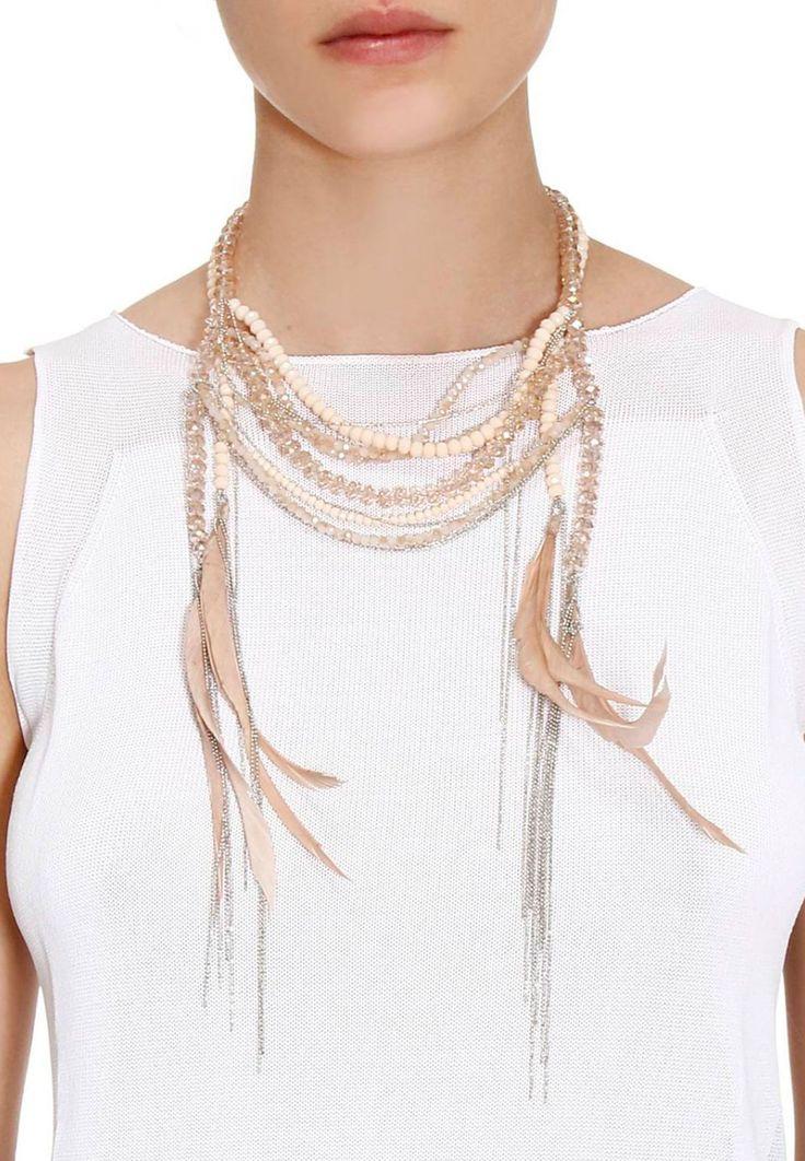 Розовое ожерелье с цепью и перьями FABIANA FILIPPI – заказать в интернет-магазине по цене 23900 руб., арт. AE85417 K454 - Elyts.ru