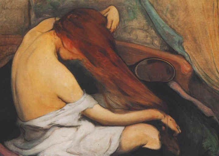 Wladyslaw Slewinski, Woman Brushing Her Hair, 1897 #redhead