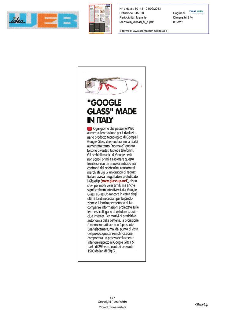 GlassUp, i nuovi occhiali a realtà aumentata made in Italy, su Idea Web di Settembre 2013
