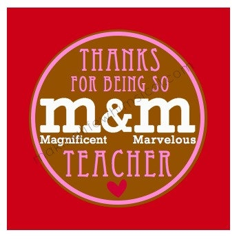 M and M Printable Tag Cute for Teacher by MakingLifeWhimsical