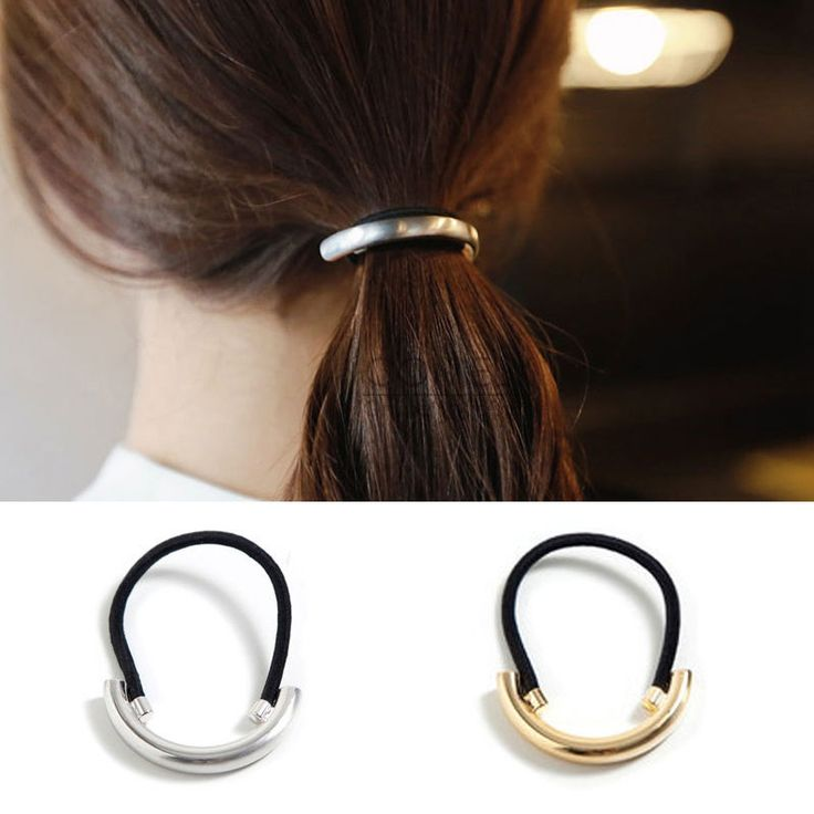 Gold Silver Metal Hairband Ponytail Holder Hair Tie Band Scrunchie Accessories #Unbranded