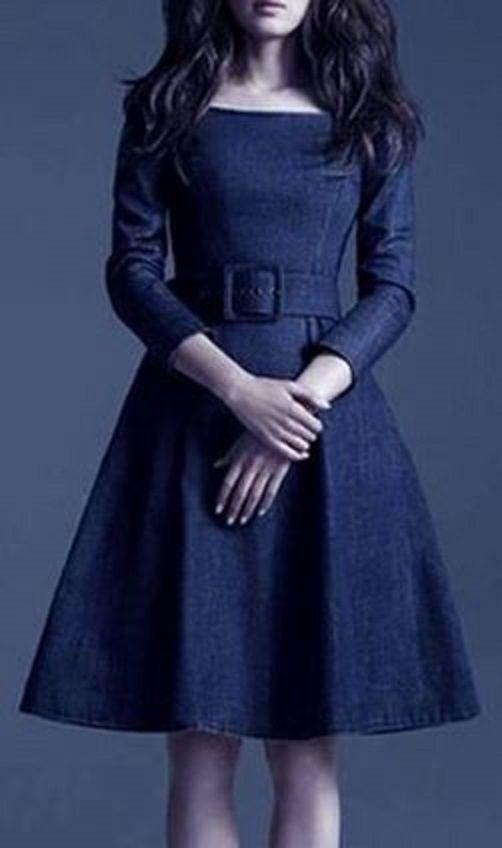 Stylish Scoop Neck Solid Color With Belt 3/4 Sleeve Denim Blue Vintage Style Dress