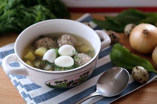 Щавелевый суп с фрикадельками : Первые блюда