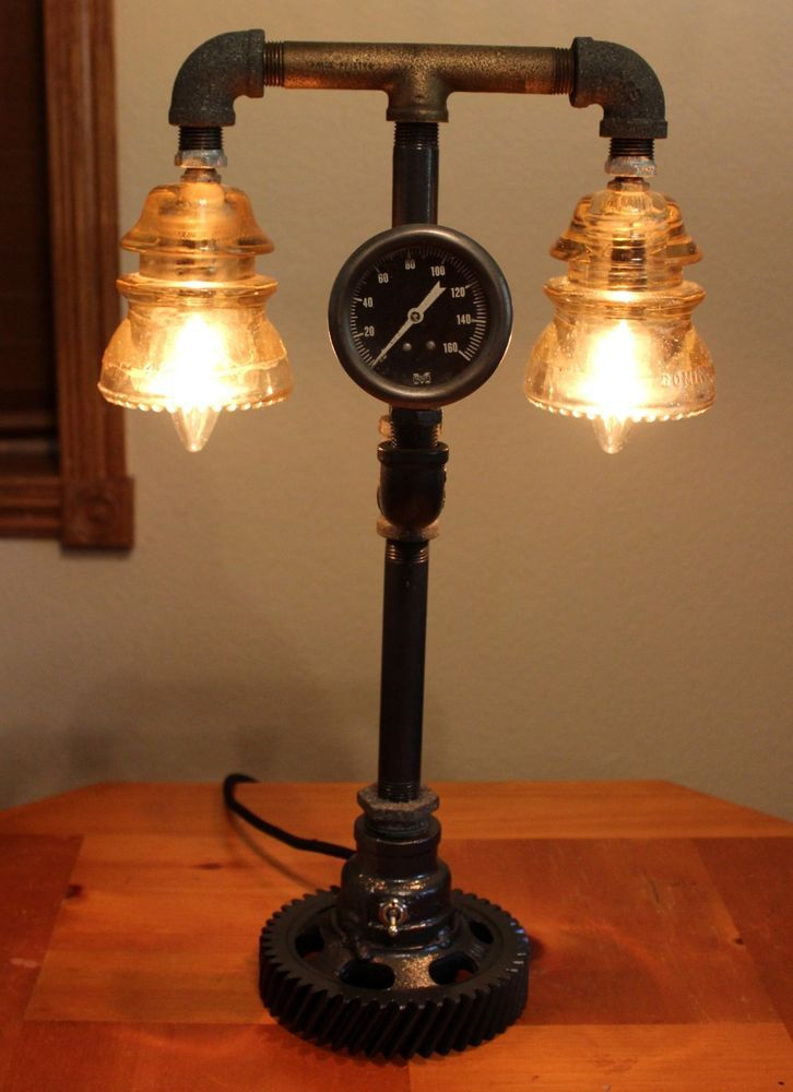Industrial Ste&unk L& Vintage Phone Insulator Desk Light Brass Repurposed & 61 best Steampunk Industrial Lighting Home Decor images on ... azcodes.com