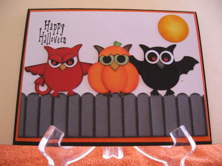 More Goblins on a Fence: Cards Owl, Owl Punch, Halloween Cards, Cards Punch, Punch Art, Card Ideas, Stampin Up Halloween Card, Paper Crafts, Su Owl