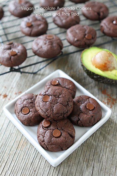 Vegan Chocolate Cookie Recipe on twopeasandtheirpod.com The BEST chocolate cookie recipe. You will never know these cookies are vegan and made with avocado. They are so rich and fudgy!