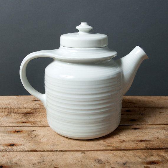 Arabia teapot White Arabia teapot Mid century by northvintage