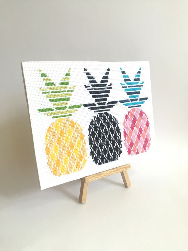 One of our most popular cross stitch kits called 'Electric Pineapples' - also available as a PDF download!  Check out www.sprucecraftco.com for our range of modern cross stitch patterns and kits!