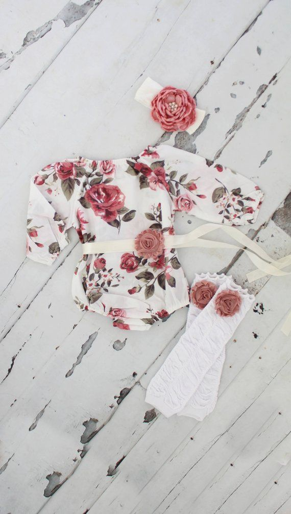 Spring Summer Boho Chic Floral Shoulder Romper Sash & Headband. Newborn Baby Girl Coming Home Outfit, 1st Birthday Outfit Mommy and Me 3