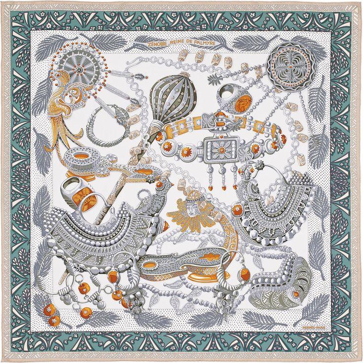 "36"" x 36"" scarf Hermès   Zenobie, Reine de Palmyre AW 2015 cw 16 gris perle/ vert/ beige"