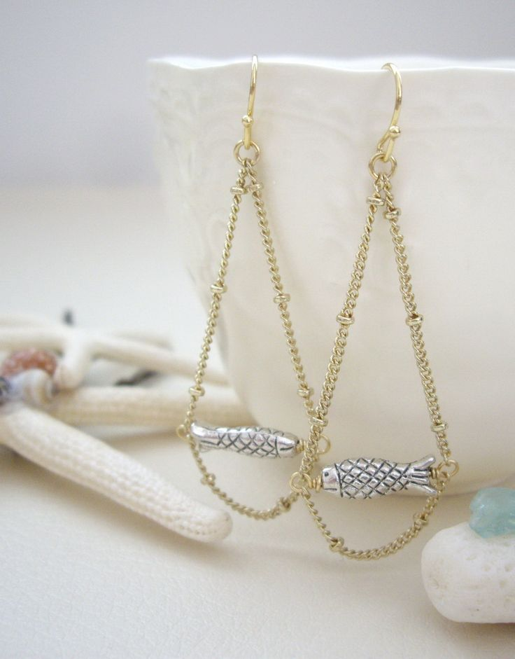 Base metal fish charm Satelllite chain Ear wires