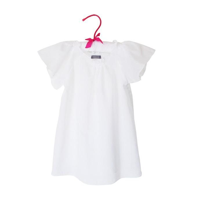 Bluza din batist alb incretita la gat si manecute