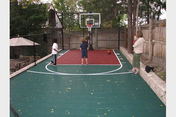Backyard sports court outdoor game courts photo gallery for Backyard sport court