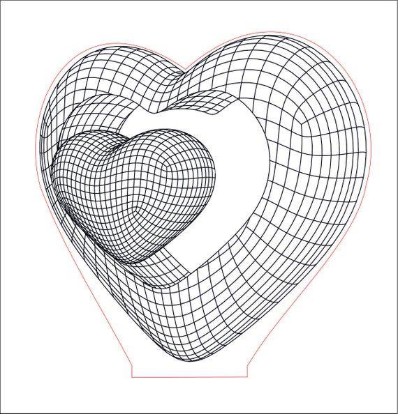Double Heart 3d Illusion Acrylic Led Lamp Vector Dxf Cdr Etsy In 2020 Illusions 3d Illusion Lamp 3d Illusions