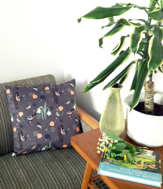 Handmade little Nuthatch velvet cushion cover bird pattern
