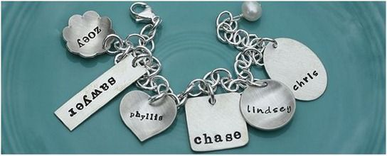metal stamped bracelet. thinking of gift for pet owner with doggy names.