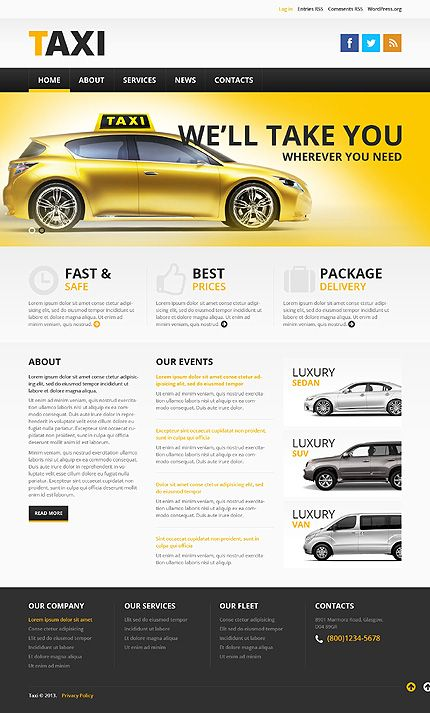 Template 46379 - Taxi Service Responsive WordPress Theme with Bootstrap, Homepage Slider, Gallery and Blog