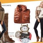Bugün Hangi Moda - De Facto ve Colin's'den | Hangi Moda De Facto sezon ürünlerinde indirimde… Kürklü kahverengi çizmeler 80 lira'dan 50 Lira'ya indi.    Colins çanta 69 Lira, Bot,; 88,90 lira Deri Mont; 109 Lira    Colin's marka bu kapişonlu şık kazak enmoda.com'da 55Lira.