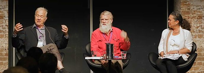 Henry Reynolds, Bruce Pascoe with ABC's Lydia Miller