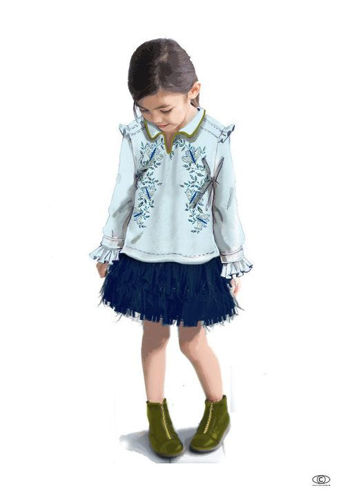 CarlinGroup: Tendance Apparat - Kids FW 2017-18 - Smart casual: Two key-items for the girls look: the shirt gets the upper hand on the blouse, worn in a tunic style on top of a new fringed petticoat skirt in « ostrich feather » style.