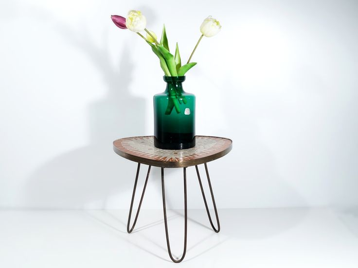 Schön Rare Flower Stool, Flower Table, Hairpin Legs U0026 Mosaic Plate, 1950s Vintage  Living Room, Retro Hallway Deco, Brass And Ceramic, Mid Century