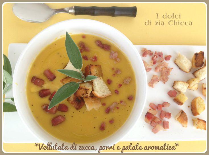 La Vellutata di zucca, porri e patate con speck croccante è una zuppa molto semplice e saporita, dal sapore genuino da gustare nelle fredde sere invernali.