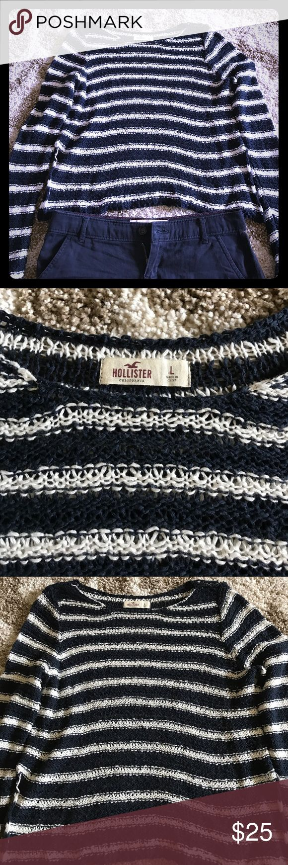 Hollister Open Stitch Sweater This piece is SO SOFT! Perfect for summer to wear over a tank, bandeau or bikini top.  Top is in great condition; size is large, but can really be worn S-L for more of a slouchy look.  Navy and white stripes are very neutral! Hollister Sweaters