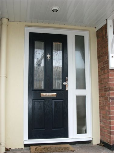 Image result for black composite door with side panels