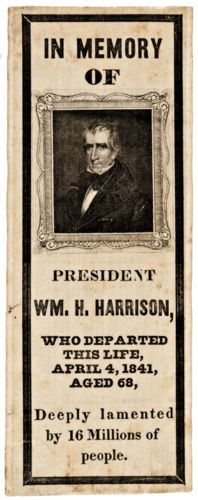 1841 William Henry Harrison Silk Memorial Ribbon   eBay