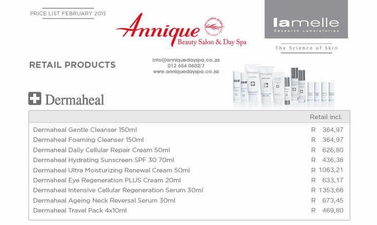 Lamelle Dermaheal Range Get your Lamelle products at Annique Day Spa  info@anniquedayspa.co.za 012 654 0602/7 www.anniquedayspa.co.za