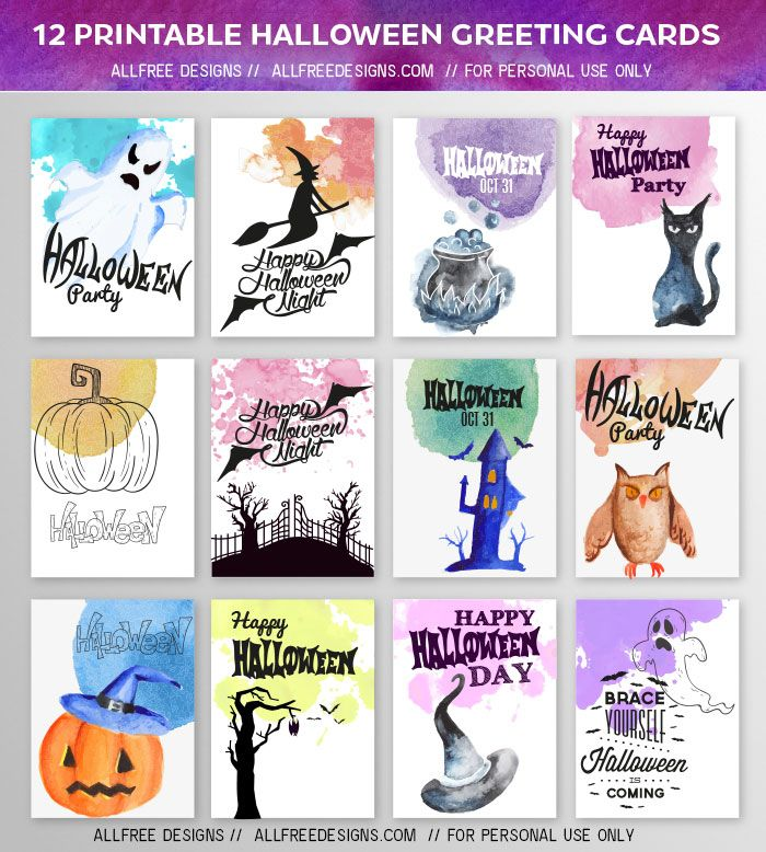 Free Halloween Greeting Cards 12 High Quality Printable Designs Halloween Greeting Card Halloween Greetings Halloween Printables Free