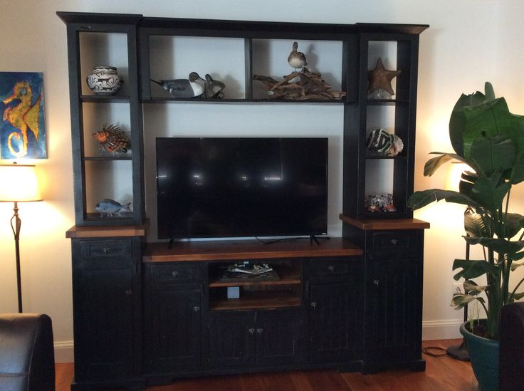 Reclaimed Barn Wood Entertainment Center Doors Close To Hide TV Handcrafted In The Heart