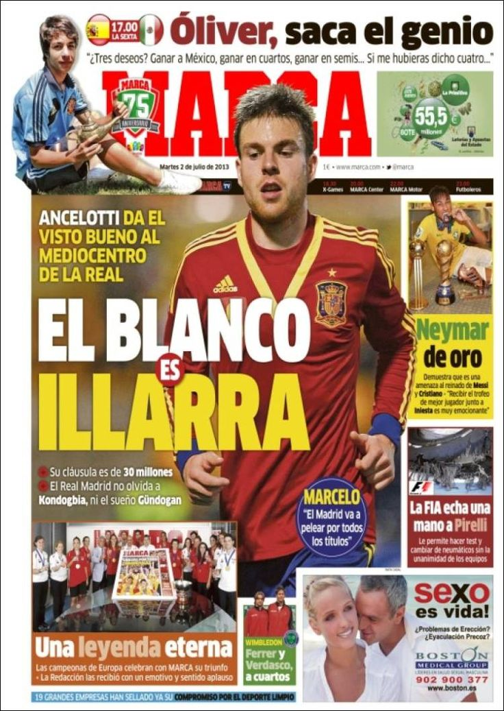Los Titulares y Portadas de Noticias Destacadas Españolas del 2 de Julio de 2013 del Diario Deportivo Marca ¿Que le parecio esta Portada de este Diario Español?