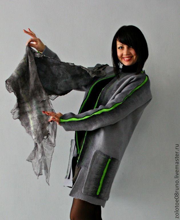 """Купить Авторское пальто """"Graphite"""" . Коллекция """"Пепел"""". - серый, однотонный, салатовый, тёмно-серый, серебристый"""