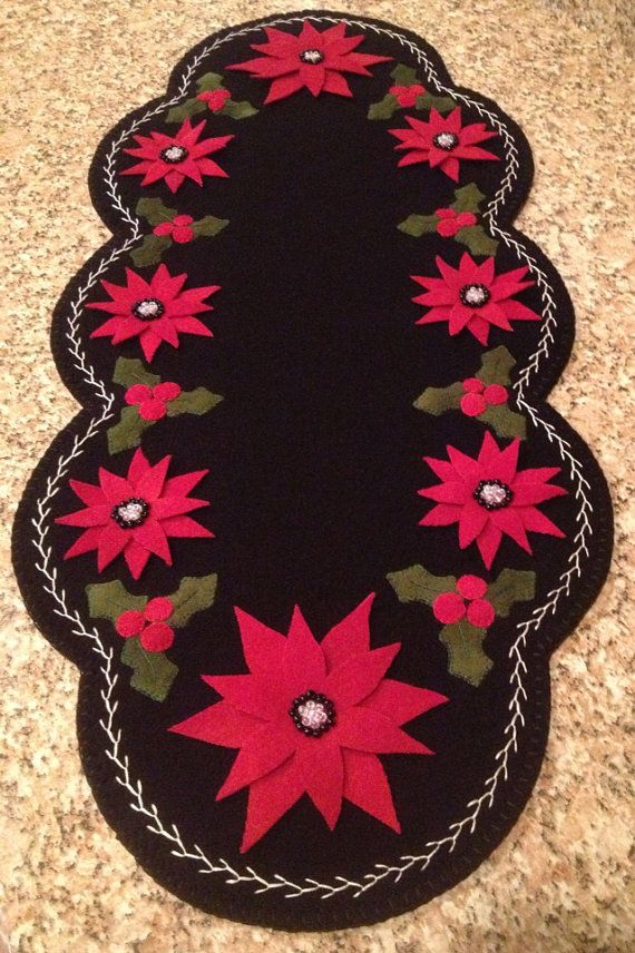 Primitive Wool Penny Rug Christmas Poinsettia with holly and berries on Etsy, $85.00