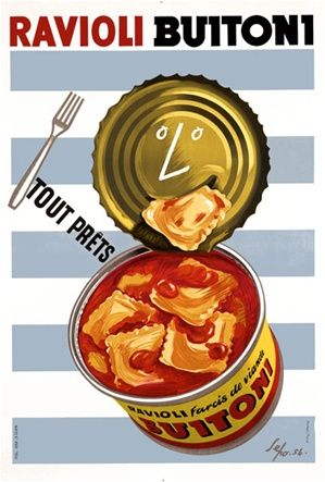 Ravioli Buitoni 1954 Italy - Beautiful Vintage Poster Reproduction. This vertical Italian culinary / food poster features a open can of past...