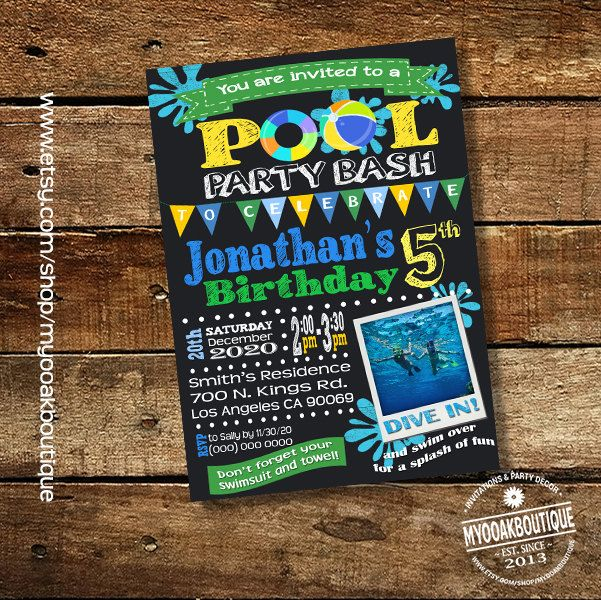 Birthday Pool Party Invitation Backyard Bash Photo Invite Chalkboard Green Blue Yellow Summer Digital