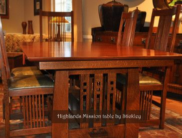 Stickley Mission - craftsman - dining room - wichita - Traditions Home want table to seat at least 12