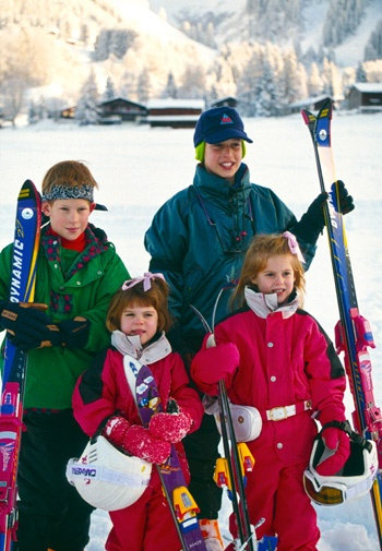 Harry, William, Eugenie and Beatrice on a family skiing holiday.