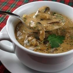 Hungarian Mushroom Soup.  So so yummy.  One of my favorite so u ps